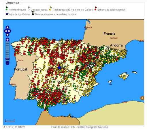 Mapa de fosas en España
