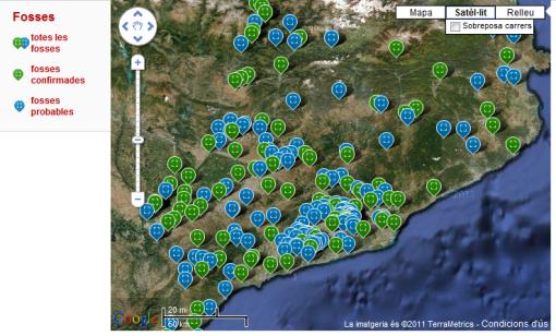 Mapa de fosses a Catalunya