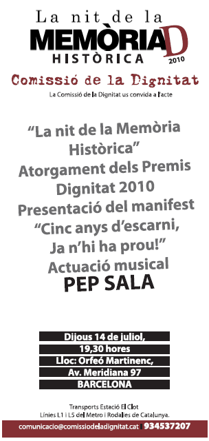 Cartell Nit de la Memoria Historica i Premis Dignitat 2010