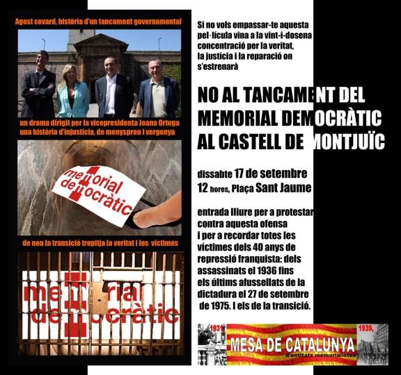 No al tancament del Memorial Democràtic